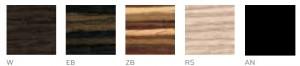 KUADRA wood finish colors
